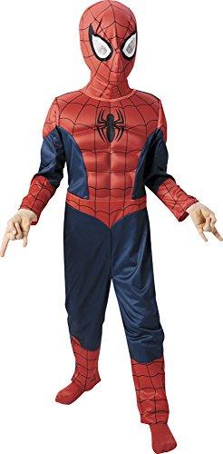 Marvel - Disfraz de Spiderman para niño, pecho musculoso y máscara, infantil 5-6 años (Rubie's 887697-M)