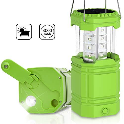 LED Camping Lantern, Solar Hand Crank Emergency Lantern 3 Ways Powered, 2 Light Modes Waterproof Tent Light, 3000mAh Power Bank, Collapsible, Perfect for Hurricane, Emergency, Hiking, Fishing, Home