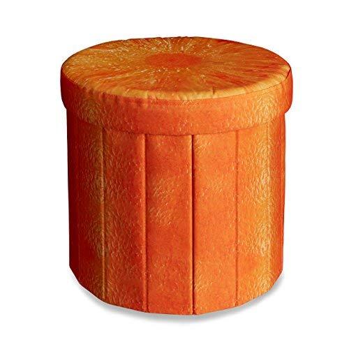 Relaxdays Tabouret rond pliant coffre de rangement pliable pouf siège chaise avec couvercle capacité de stockage 30 L motifs fruits 38 x 38,5 x 38,5 cm, orange