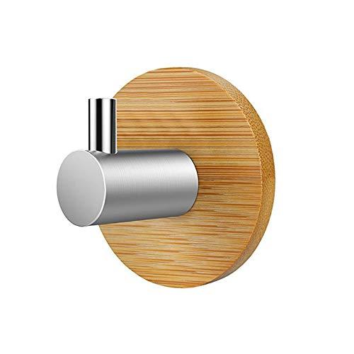 Wankd Handdoekhaak, 1 stuks, houten reinigingsdoek, handdoekhouder, wandhaak, zelfklevend, van roestvrij staal en hout, bamboe, zonder boren, roestvrij, ideaal voor badkamer, toilet, keuken en kantoor 5*5 Afzonderlijke haak.