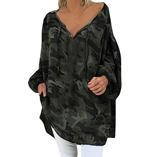 Sweatshirt Jacken Damen Ohne Kapuze Baumwolle Sweatjacke Frauen Lose Große Größe Camouflage Langarm V Ausschnitt Pullover Tops Shirt