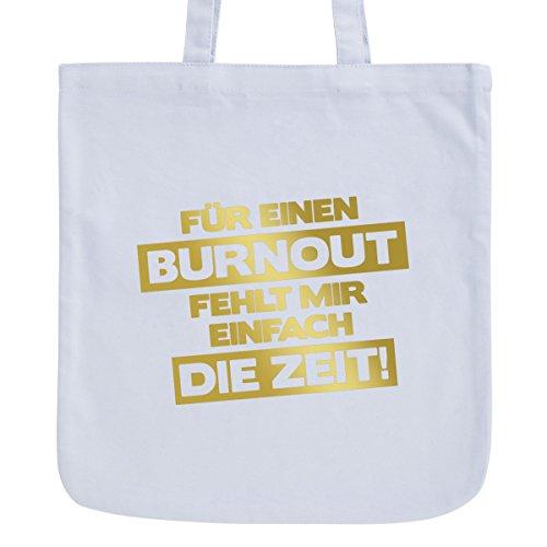 JUNIWORDS Jutebeutel, Pastellfarben, Für Einen Burn Out, Tasche: Pastellblau, Schrift: Gold