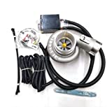 Fangaichen Adecuado para el Coche Universal 12V Turbo Turbo Supercharger Kit Empuje el turbocompresor eléctrico La Ingesta del Filtro de Aire para el automóvil Mejorar la Velocidad