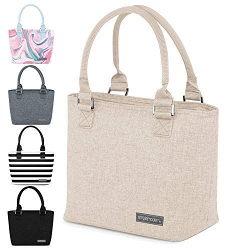 Simple Modern 4L Cara Lena Lunch Bag for Women - Beige Insulated Lunch Box -Tan