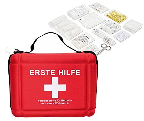 Eva Betriebs Verbandtasche rot Verbandstoffe DIN 13157 DIN 13164 für Betriebe Schulen Kindergärten Baustellen Verbandmaterial Erste Hilfe Set