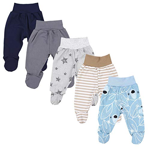 TupTam Baby Unisex Hose mit Fuß Bunte 5er Pack, Farbe: Junge 6, Größe: 86