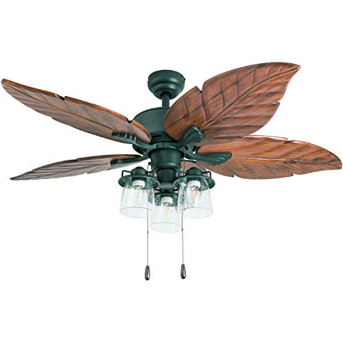 """Prominence Home 50677-01 Caspian Sea Tropical Ceiling Fan, 52"""", Dark Cherry Hand Carved Wood, Aged Bronze"""