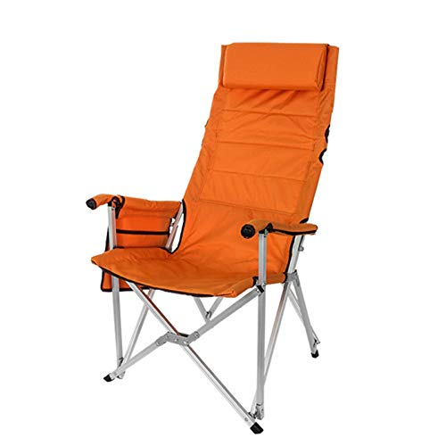 QHGao Outdoor Portable Folded Camping Chair, with Armrest Side Table Storage Bag Indoor Outdoor, Comfortable Pillow, Detachable Handle