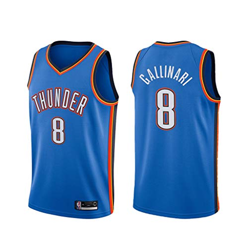 canottejerseyNBA Danilo Gallinari - Oklahoma City Thunder #8, Basket Jersey Maglia Canotta, Swingman Ricamata, Abbigliamento Sportivo (Blu, S)