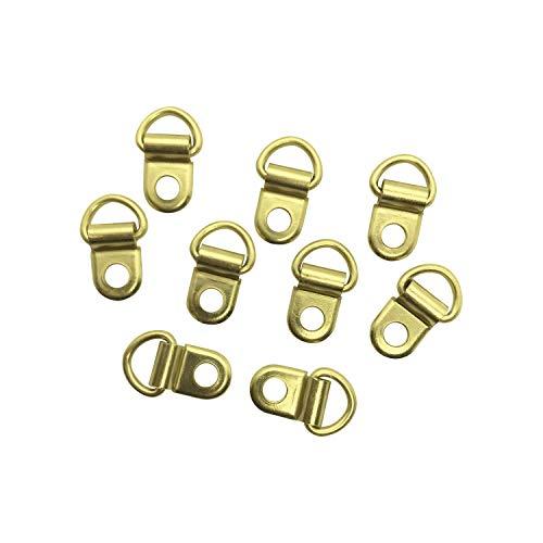 100 Stück - Hängeösen / Aufhängeösen für Buchschrauben (gold / vermessingt, 5 mm Lochdurchmesser)