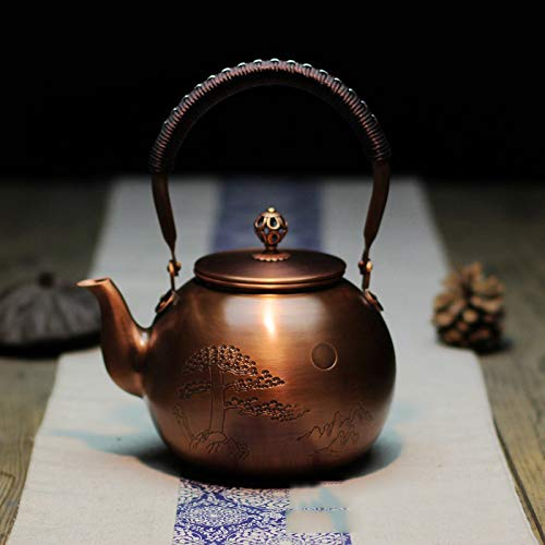 Wollet Handmade Solid Copper Tea Pot Kettle Stovetop Teapot Thick Engraved Copper Tea Pot Kettle Stovetop Teapot Chinese Jili(Good Luck) Patterns (CangSongYingKe-Pine)