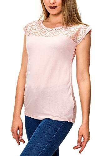 Hailys Damen T-Shirt Jersey Shirt mit Spitze Unifarben (S, Rose)