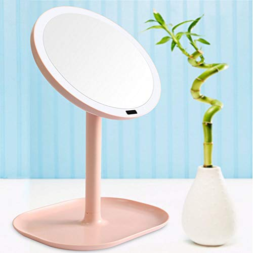 LFK Creative Smart LED Espejo de maquillaje lupa de baño 5x/7x Luz de mesa brillante Espejo de belleza (color: rosa, tamaño: 5x)