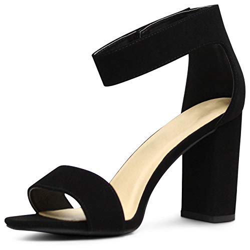 Edmonton Wide-Fit Women's Open Toe Ankle Strap Chunky Block Stacked Heels Sandals - (Black NBPU) - 7.5