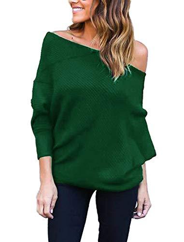 Damen Oberteile Elegante Langarmshirt Carmenbluse Off Shoulder Pullover Tops Normallacks Locker Freizeit Sweatshirt Blusen Mädchen Kleidung Shirts (Color : Grün, Size : S)