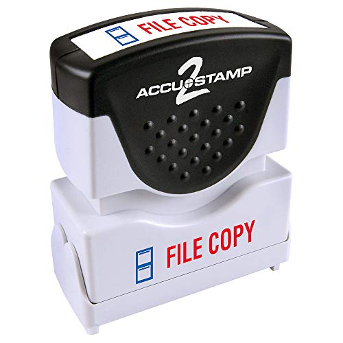 "ACCU-STAMP2 Message Stamp with Shutter, 2-Color, FILE COPY, 1-5/8"" x 1/2"" Impression, Pre-Ink, Red and Blue Ink (035524)"