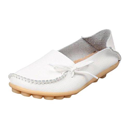 Heheja Damen Freizeit Flache Schuhe Low-top Mokassin Loafers Erbsenschuhe Weiß Asia 37 (23.5cm)