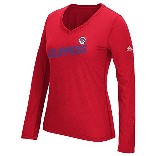 adidas NBA Los Angeles Clippers Damen Langarmshirt gestapelt, Größe S, Rot