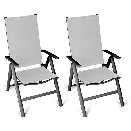 Vanage Alu Gartenstuhl in grau - Klappstuhl im 2er Set - Hochlehner - Klappsessel - Gartenmöbel - Stuhl für Garten, Terrasse und Balkon geeignet