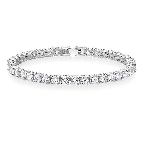 Gem Stone King Sparkling 10.00 Ct Round Cut Cubic Zirconia CZ Women Tennis Bracelet, 7 Inch