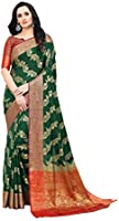 Amazon Brand - Anarva Women's Kanjivaram Cotton Silk Blend Saree With Unstitched Blouse Piece