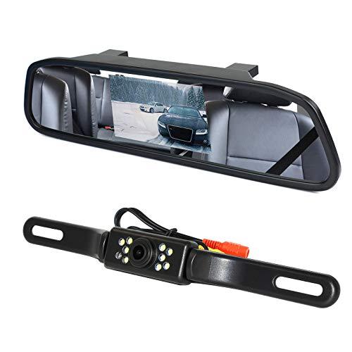 """Peojek Backup Camera and Monitor Kit, 4.3"""" Car Vehicle Rearview Mirror Monitor for Car Reverse Camera Waterproof Car Rear View Camera with 9 LED Night Vision (4.3"""" Backup Camera)"""