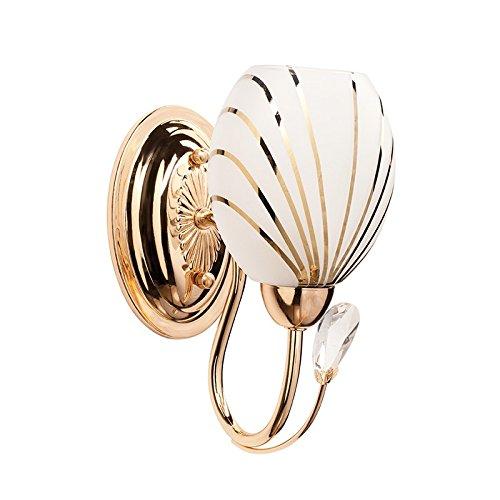 MW-Light 267022201 Moderne Elegante Wandlampe Goldfarbiges Metall Mattweißes Glas Kristall Klar Direktes Licht Wohnzimmer Esszimmer Schlafzimmer Flur 1 Flammig 1 x 60W E14