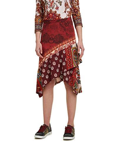 Desigual Damen Skirt Indira Rock, Rot (Borgoña 3007), X-Large (Herstellergröße: XL)