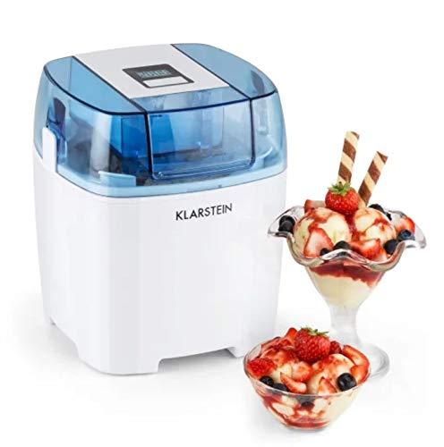 Klarstein Creamberry heladera 4 en 1 - Bajo consumo, Bajo consumo: 10 vatios h, Capacidad 1,5 litros, Rápido preparado en 20 minutos, Uso sencillo, Apagado automático, Pantalla digital, Blanco