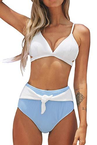 CUPSHE Weißer und Blauer High Waisted Bikini Set, M