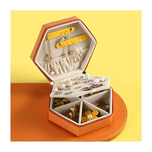 Cajas para joyas Vintage joyería pequeña caja geométrica anaranjada exhibición de la joyería de la PU Organizador de viajes joyería de cuero de la caja del pendiente del anillo baratija de almacenamie
