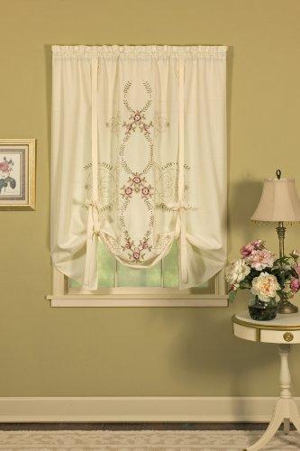 Today's Curtain Verona Abat-Jour pour fenêtre avec Broderie inversée 160 cm Écru/Rose