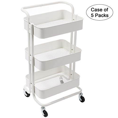 Case of 5 Packs DOEWORKS 3 Tier Rolling Cart Metal Utility Cart Art Cart Storage Cart Service Rack Shelf, White