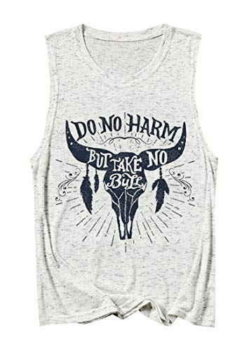 Cowgirl Tank Tops Do No Harm But Take No Bull Womens Country Music Inspirational Sleeveless Vest … (Gray, XL)