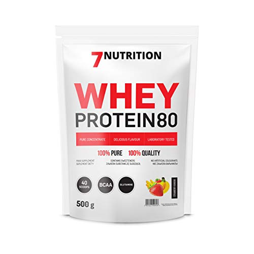7Nutrition Whey Protein 80 Concentrate Powder | Low Sugar | Glutamine | BCAA | Strawberry-Banana | 500g