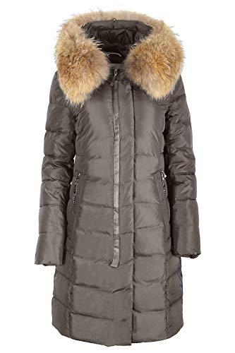 Grimada 18719 dames winterjas gewatteerde jas in dons-look OLANMEAR met echte bontcapuchon