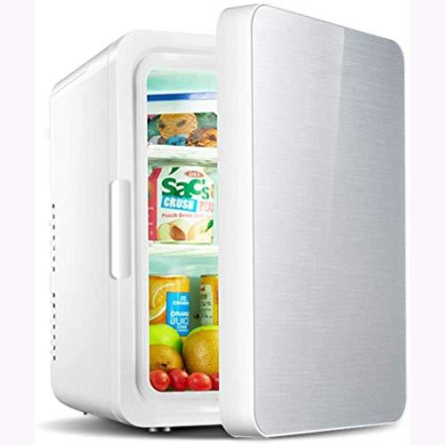 Rindasr Mini-koelkast, 12 liter, koel- en warmtebehoud, compacte koelkast, in de zomer buitenshuis, drankjes gekookt eten, draagbare vrieskast, kleine koelkast zilver