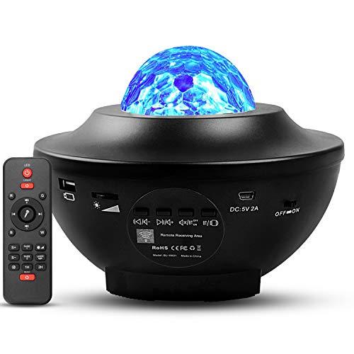 AGOTD LED Projektor Sternenlicht Lampe mit Fernbedienung/Bluetooth Lautsprecher, LED Sternenhimmel projektor, Rotierende Wasserwellen Projektionslampe für Party, Geburtztag, Weihnachten, Halloween