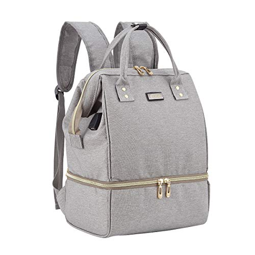 BigForest Breast Pump Bag- Mini Sacs et Poches Isothermes Breast Pump Backpack with USB Charger Port Sacs ¨¤ Dos ¨¤ Langer pour B¨¦b¨¦ Sac,Cooler Pocket Mummy Diaper Pump tote sac ¨¤ main grey