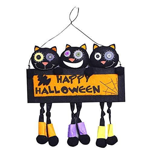 EASYBUY Adorno para puerta de muñeca con colgante de feliz Halloween, placa creativa para colgar, placa de pared para interiores y exteriores para el hogar, puerta, fiesta, casa encantada, oficina