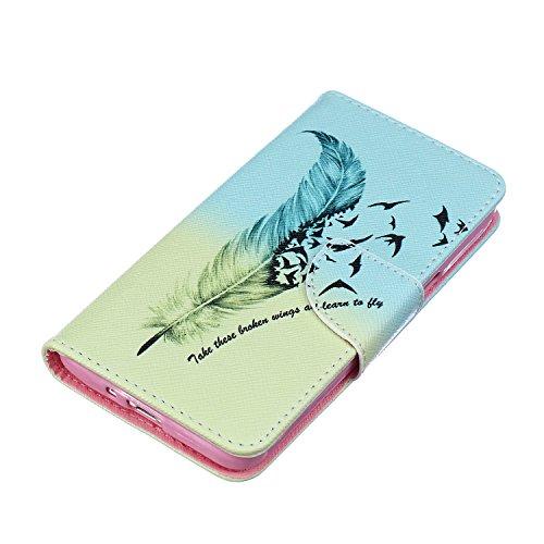 ISAKEN Flip Custodia per Samsung G530 Galaxy Core Prime, Creative Disegno stampa stile del libro Portafoglio Cover Case in PU Cuoio Wallet Caso copertina con funzione di supporto e morbido TPU cassa interna - piuma giallo verde uccelli nero