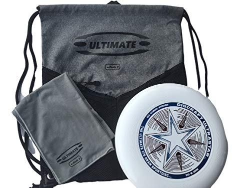 e-finds it Sports Drawstring Backpack, 175g Frisbee Disc, Ultimate Cool Off Towel Set