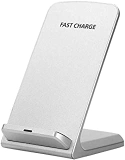 Slick-Prints White Universal Qi Enabled Slim 10W Output Wireless Power Desktop Charging Pad with Led Light and Ultra-Thin Qi Receiver Module Chip for LG Tribute HD