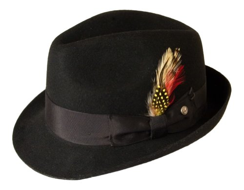 Gamble & Gunn 'Kempton' Feutre de laine noir style vintage Fedora - Noir - XL
