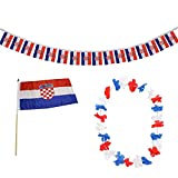 Sonia Originelli FANSET EM Fußball Kroatien Croatia Girlande Mini Hand Flagge Hawaiikette
