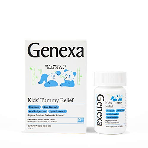 Genexa Kids#039 Tummy Relief  30 Tablets | Calcium Carbonate Antacid NonGMO Verified Certified GlutenFree amp Certified Vegan | Free of Talc amp Dyes