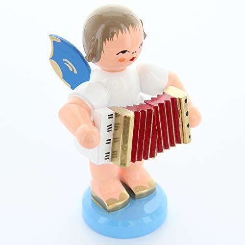 Engel stehend groß mit Akkordeon, blaue Flügel