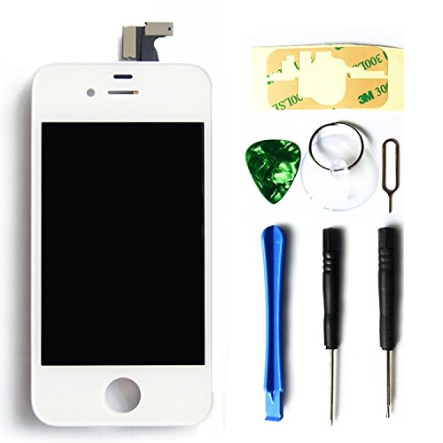 MMOBIEL LCD Ersatz kompatibel mit iPhone 4S (Weiss) Display Touchscreen Digitizer Premium Set mit Tool Kit