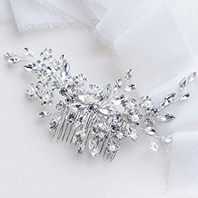 Catery Flower Crystal Bride Wedding Hair Comb Hair Accessories with Pearl Bridal Side Combs Headpiece for Women (Silver)