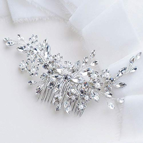 Catery Flower Crystal Bride Wedding Hair Comb Hair Accessories with Pearl Bridal Side Combs...